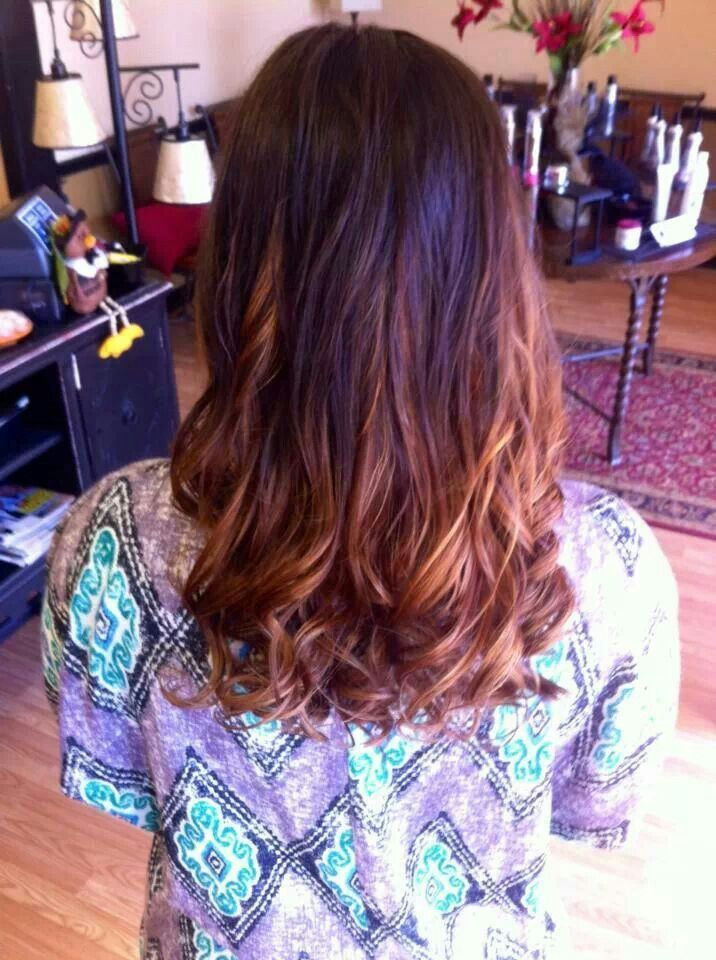 Brown to auburn ombre with red violet highlights! #ombre # ...
