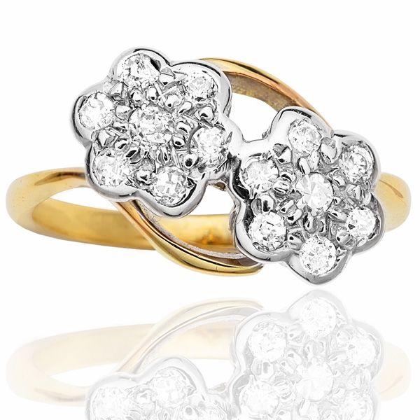 Art Deco Double Daisy Diamond Ring