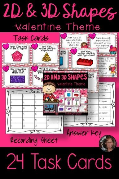 Students will be able to practice the important skill of naming and recognizing attributes of 2D and 3D shapes with 24 fun Valentine themed task cards!
