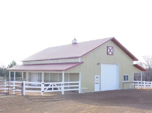 Metal pole barn with red roof barn love pinterest for Red metal barn