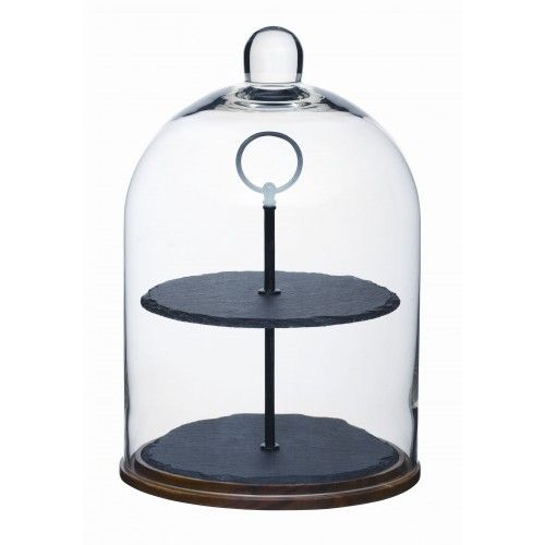 Buy Artesa Appetiser Slate Cake Stand With Dome from Steamer Trading: This stylish slate two-tier serving stand is perfect for cakes, cheeses, fruit or any food you'd like to make look really tempting. The glass dome lid will keep...