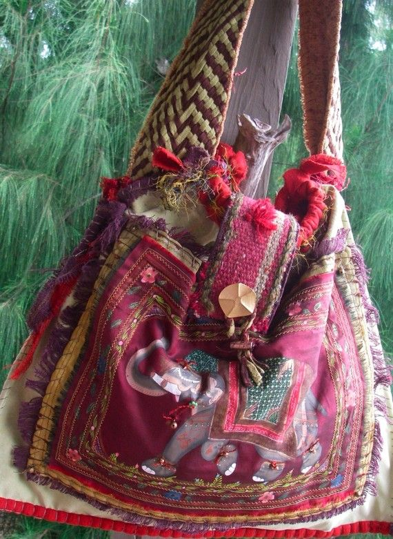GREEN ELEPHANT Suede and Silk Boho one of a kind by nomadicbags, $475.00