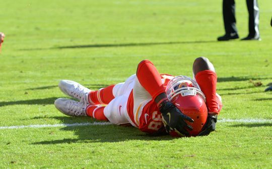 Jaguars vs. Chiefs  -  19-14, Chiefs  -  November 6, 2016  -  Nov 6, 2016; Kansas City, MO, USA; Kansas City Chiefs defensive back Ron Parker (38) reacts after missing an interception during the first half against the Jacksonville Jaguars at Arrowhead Stadium. The Chiefs won 19-14. Mandatory Credit: Denny Medley-USA TODAY Sports