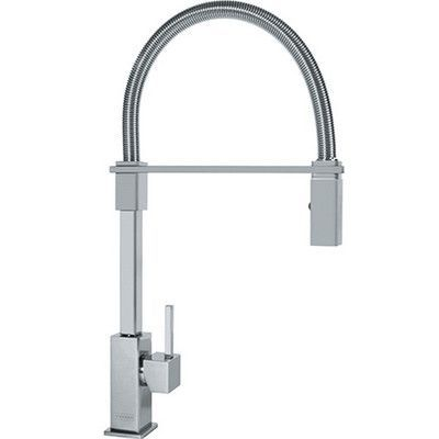 Vintage Franke Planar Single Handle Deck Mounted Kitchen Faucet with Pull Down Spray Finish Satin Nickel