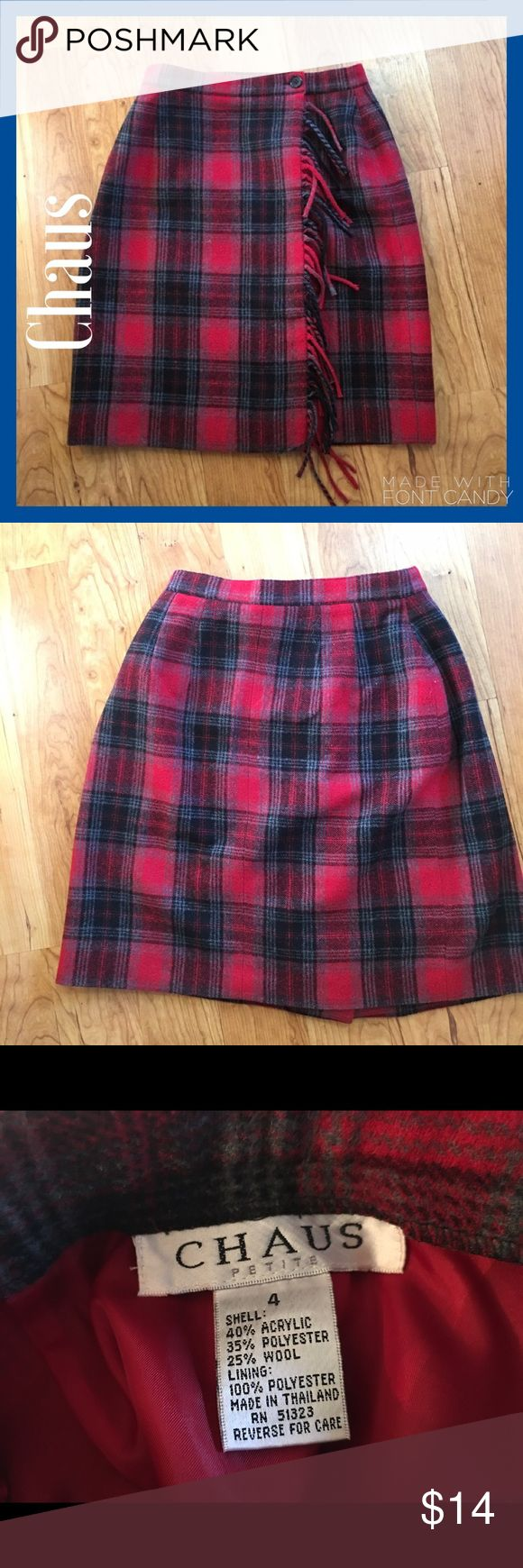 Beautiful Wool Red and Black Plaid Shirt Beautiful Wool Red and Black Plaid Shirt. Perfect with a pair of tights and a classy sweater. Label says petite, but more like a regular. Great condition. Skirts