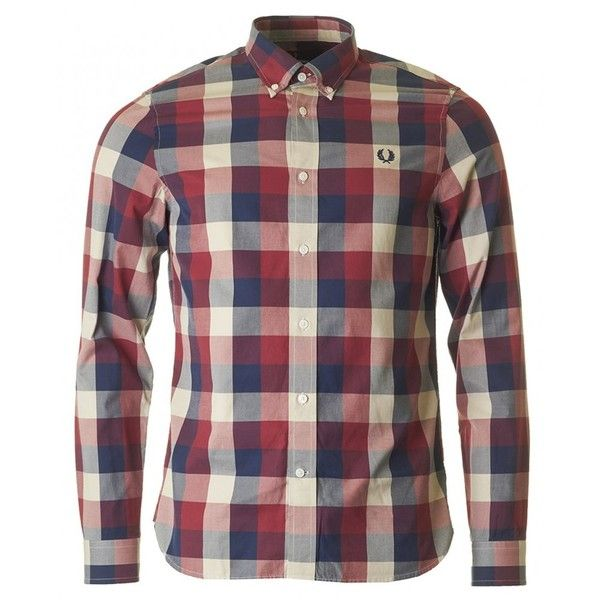 Fred Perry Authentics Winter Twill Gingham Check Shirt (170 BRL) ❤ liked on Polyvore featuring men's fashion, men's clothing, men's shirts, men's casual shirts, red, mens slim fit long sleeve t shirts, mens slim fit casual shirts, mens long sleeve casual shirts, mens red gingham shirt and mens red checked shirt