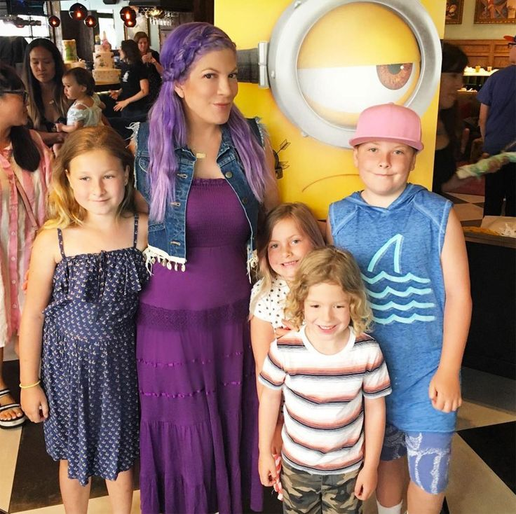 'Purple Hair Don't Care': Tori Spelling Debuts New Summer Color While Outwith Her Kids