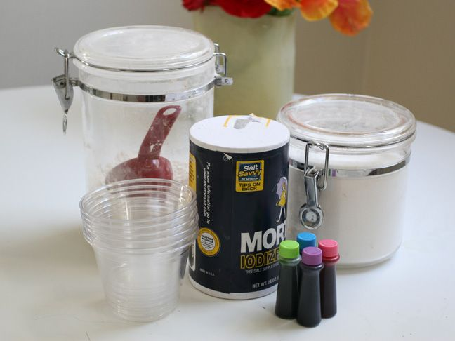 Homemade Paint  Supplies:          Flour        Sugar,        Salt,        Food coloring,        Plastic cups