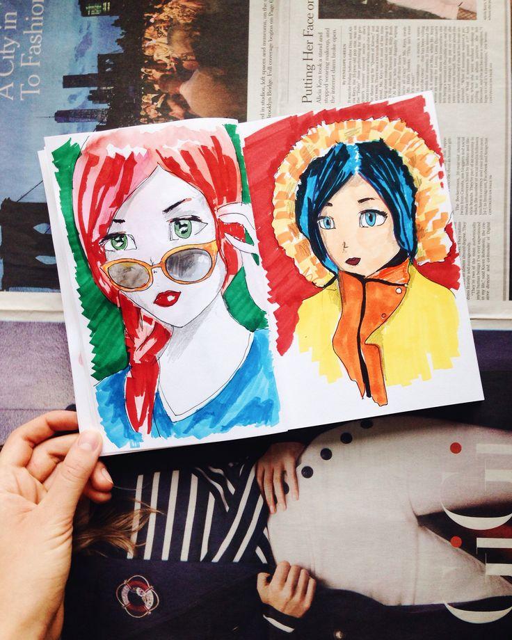 Cute manga girl portraits from my sketchbook #sketchbook #manga #portrait #cute #girl #art #design #redhair #redhead