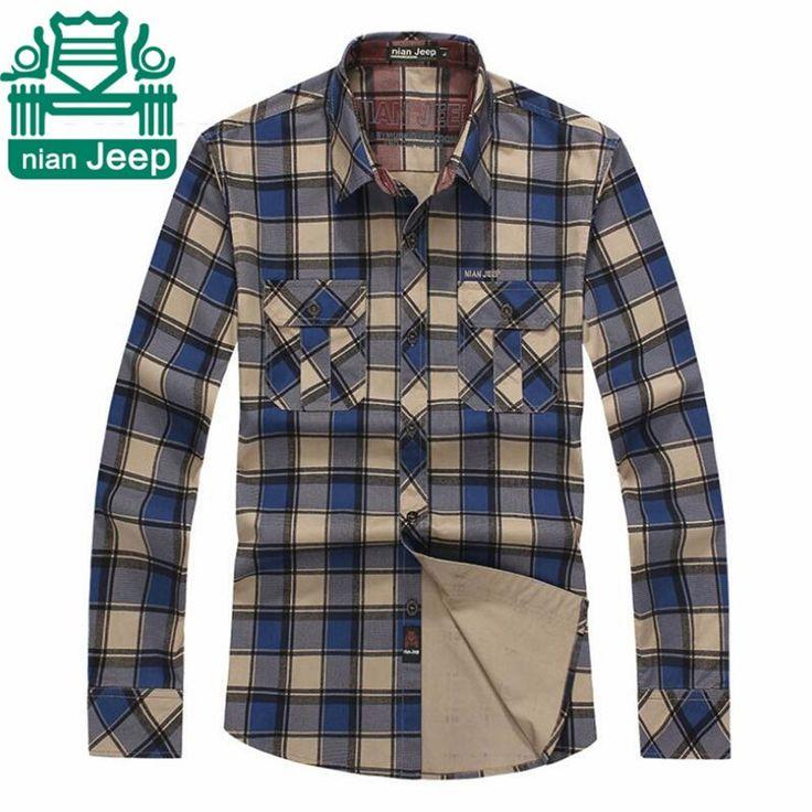 Nian AFS JEEP 3XL 4XL Big Size Autumn Long Sleeve Men's Plaid Cotton Shirts,Original Cargo Casual Loose overshirt Man undies