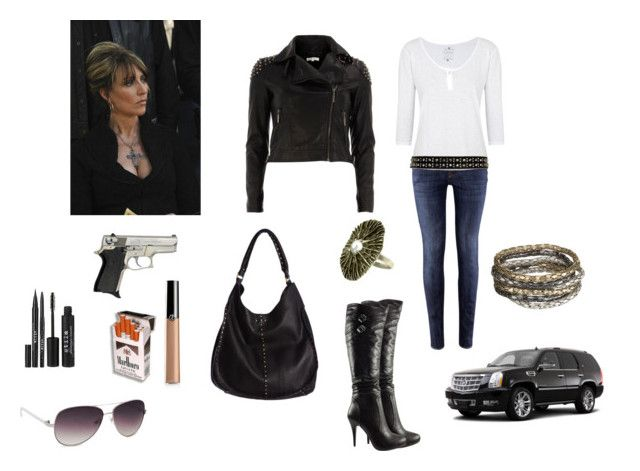 """gemma teller morrow"" by gigideville ❤ liked on Polyvore featuring moda, H&M, Velvet, Glamorous, Bakers, Linea Pelle, MANGO, Stila, Giorgio Armani ve sons of anarchy"