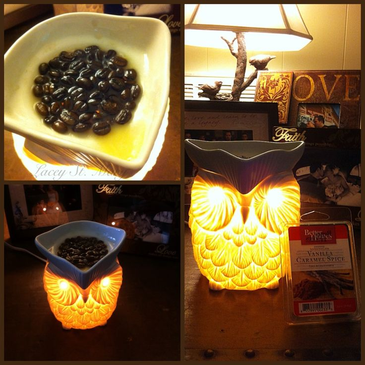 I love the smell of coffee, so I was excited to try the post I've seen where you put coffee beans, in a glass jar, with a vanilla candle. Well, you can imagine my disappointment when all I ended up with was burnt coffee beans.. Lovely. So, I decided to try putting the coffee beans in my wax warmer! I mixed them with the better homes and gardens, Vanilla Caramel Spice scented wax, from Walmart. It works so much better! No burnt beans, and a much stronger scent!