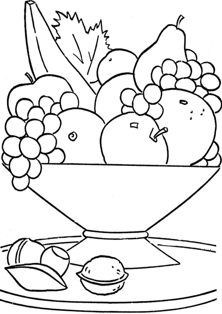 Fruit Basket On The Table Coloring Pages