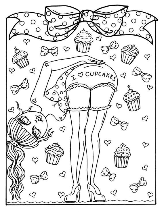 Halloween Sweets And Pinups Digital Download Coloring Book Etsy Love Coloring Pages Valentine Coloring Pages Coloring Books