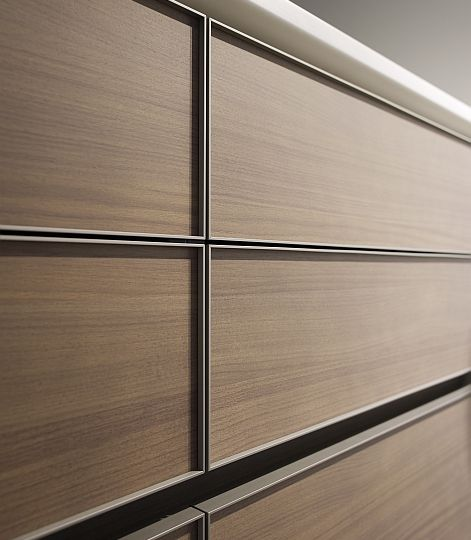 Aluminum + Walnut drawer fronts