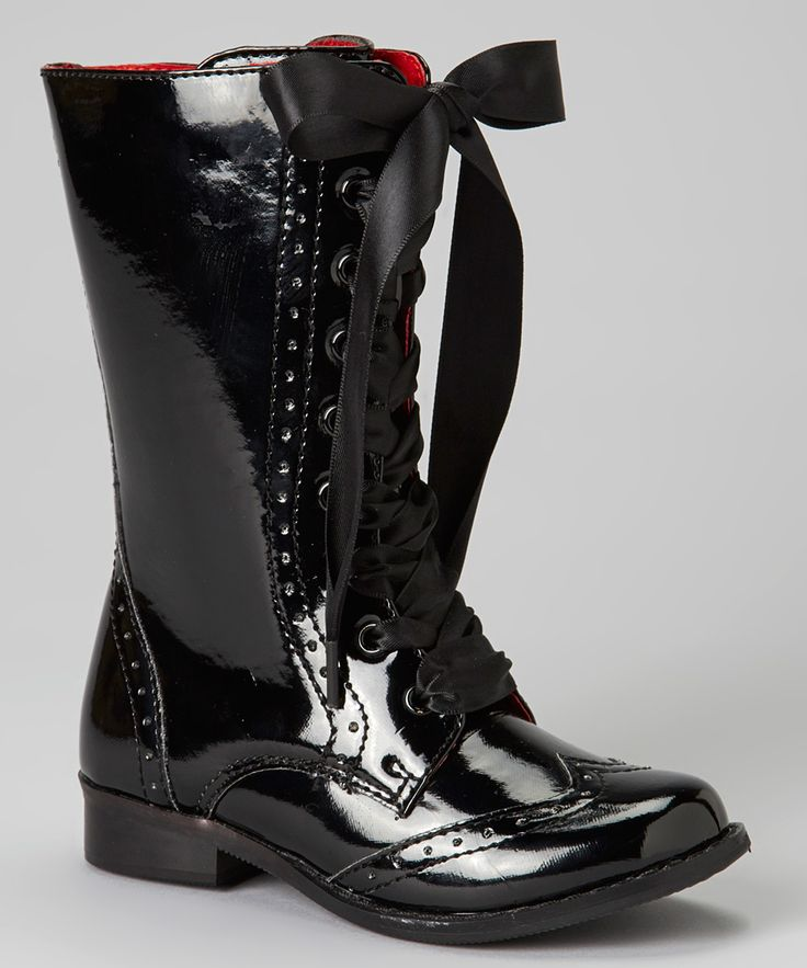 Black Glossy Lace-Up Boot | zulily