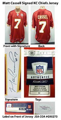 Matt Cassel Signed Reebok NFL Players Onfield KC Chiefs Jersey JSA COA AUTO . $200.00. Pro-BowlNational Football League QuarterbackMatt CasselHand Signed Reebok NFL Equipment Onfield JerseySize 54Cassel Played/Plays For:New England Patriots 2005-2008Kansas City Chiefs 2009-2011.GREAT AUTHENTIC MATT CASSEL FOOTBALL COLLECTIBLEAUTOGRAPH AUTHENTICATED BY JAMES SPENCE AUTHENTICATIONS (JSA) WITH NUMBERED JSA STICKER ON ITEM AND MATCHING NUMBERED JSA CERTIFICATE OF AUT...