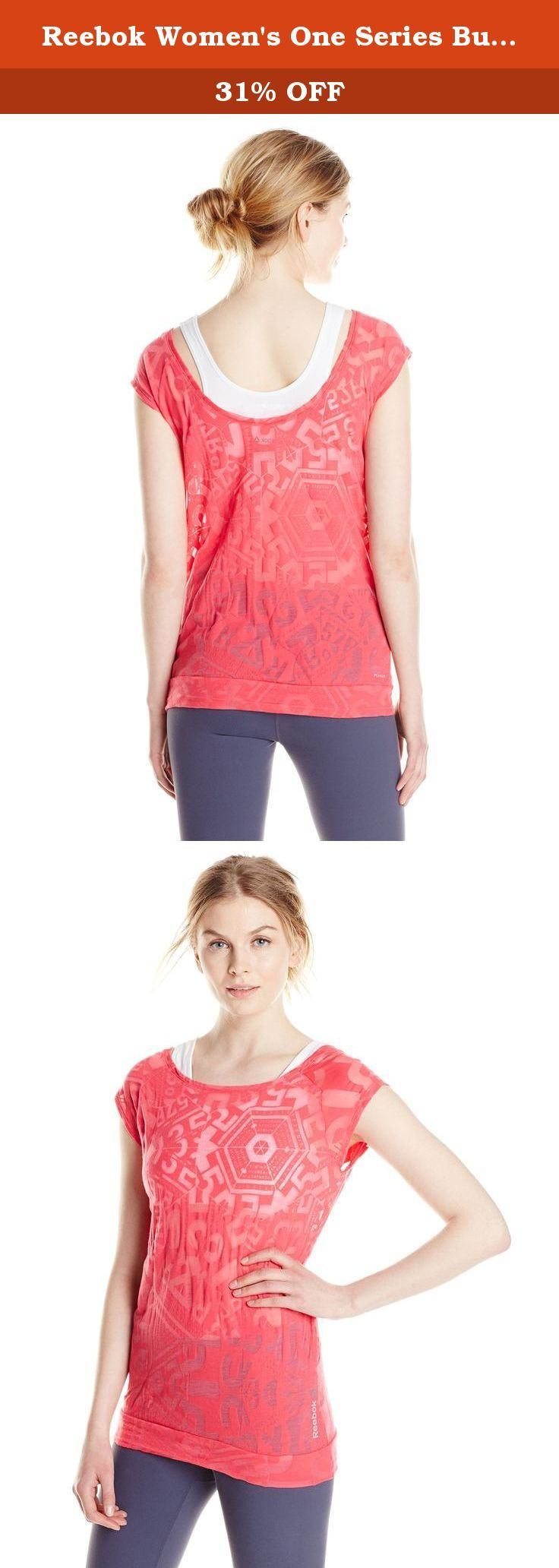 Reebok Women's One Series Burnout Tee, Blazing Pink, Medium. This fitted tee provides coverage and a stylish look during any training activity whether indoors or out.