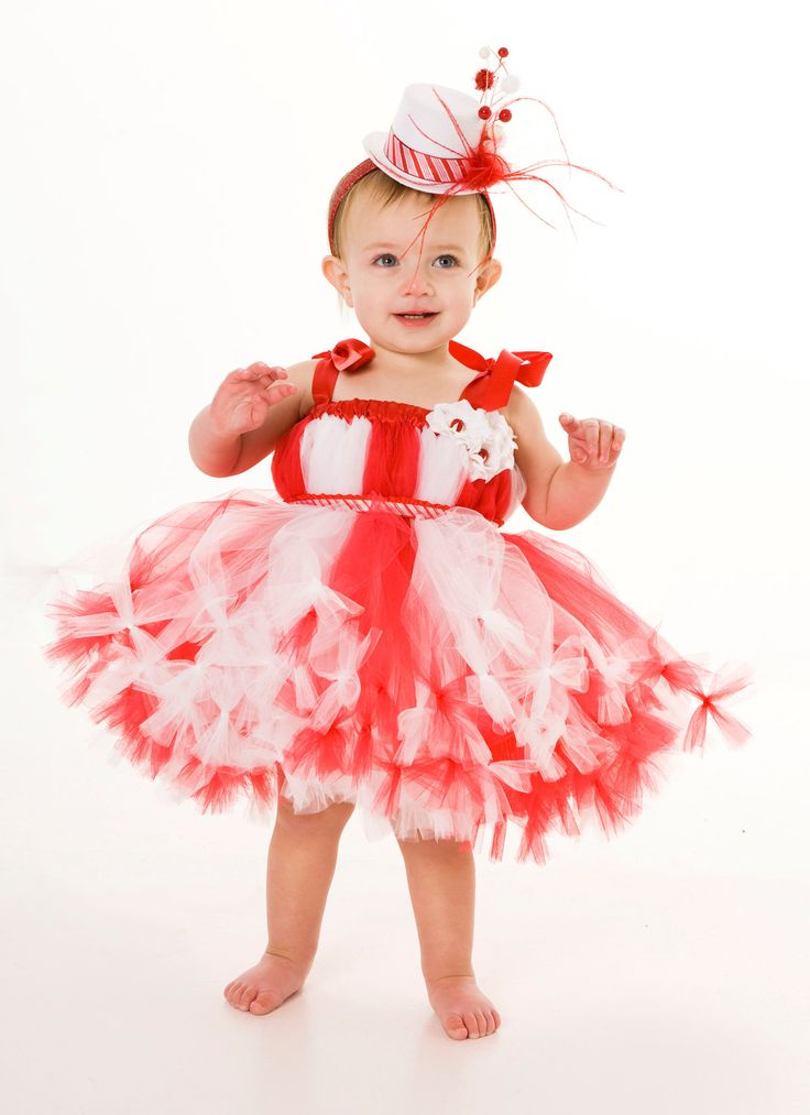 Petti Tutu Dress - Birthday or Christmas Outfit - Red & White - Peppermint Swirl - 12 Month to 2 Toddler Girl. $75.00, via Etsy.