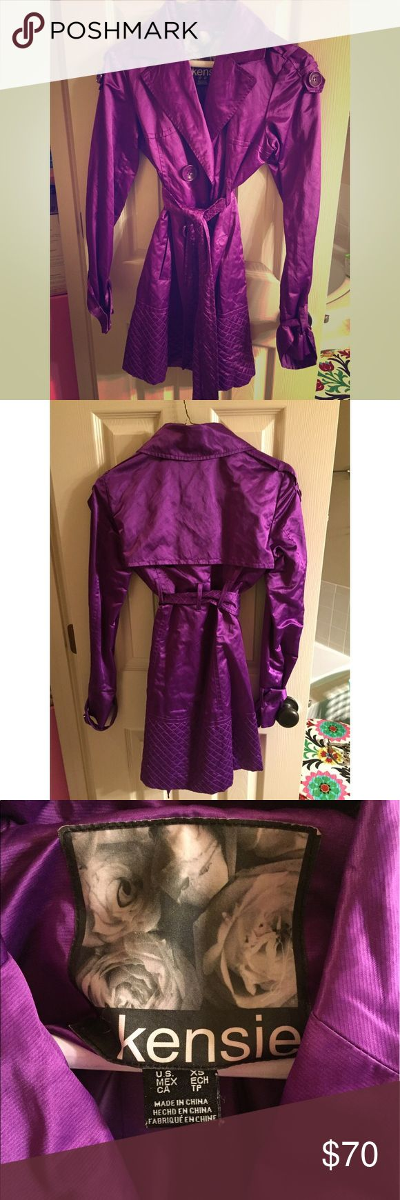 (NWOT) Kensie Purple Trench Coat (NWOT) Kensie Purple Trench Coat. It's a size XS but fits like a small/medium. Although I cut the tags off after purchasing it, it has never been worn & has just been hanging up in my closet waiting for it's new owner. Paid $158 + tax for this beautiful coat. It really is a beautiful shade of purple, and the giant buttons accessorize it perfectly 💜. Kensie Jackets & Coats Trench Coats