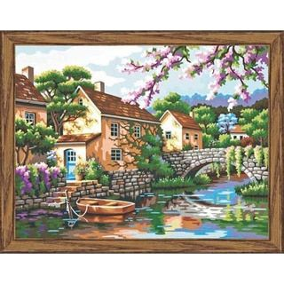 """Paint By Number Kit 14""""X11""""-Village Canal"""
