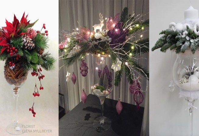 Utiliza copas de cristal para realizar bellos centros de mesa navideños