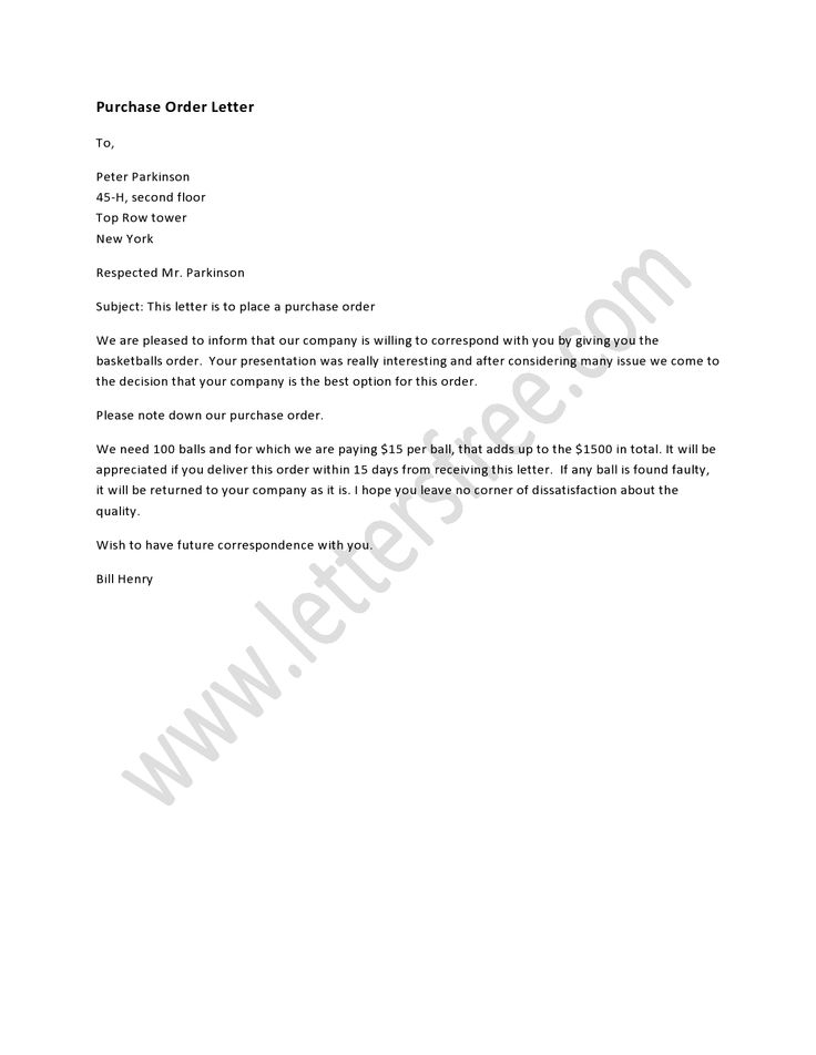 letter writing format for purchase order purchase order letter order letter sample order letter 16036