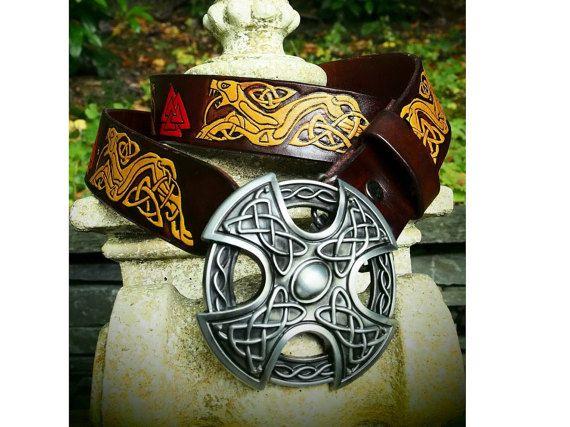 viking norse warrior leather belt celtic by PocillatorWorkshop