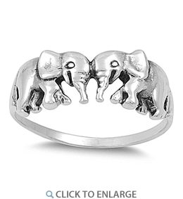 Intricately designed Sterling Silver Elephants Ring