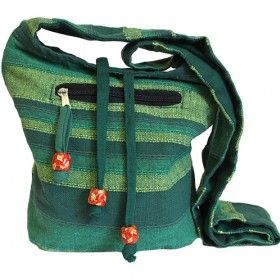 Nepal Sling Bag - Forest Green | Hip Angels | Take a look at our new and great value wholesale Nepal Sling Bag made of 100% pure cotton and featured in six different  beautiful colours.Our Nepal Sling bag also has side pocket with a functional and fashionable wood bead zipper, and inside coin pocket ideal to keep change and credit cards.These bags are very practical to wear. #Wholesaler_Bags #Wholesale_Bag #Bag_Wholesale #Bags_Wholesaler #Travel_Bag #Travel_Bags