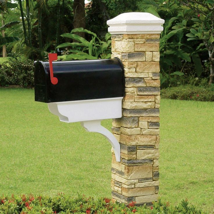 Update your plain jane mailbox with cast stone posts that for Mailbox post ideas