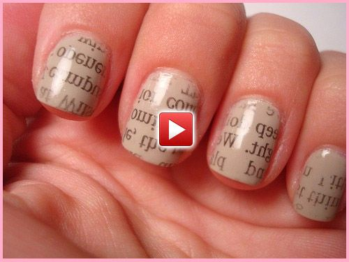 30 best newspaper nail art tutorial video gallery by nded images nail art newspaper nails put on nail polish and let dry dip fingernail in rubbing alcohol press a strip of newspaper big enough to cover the whole nail prinsesfo Image collections