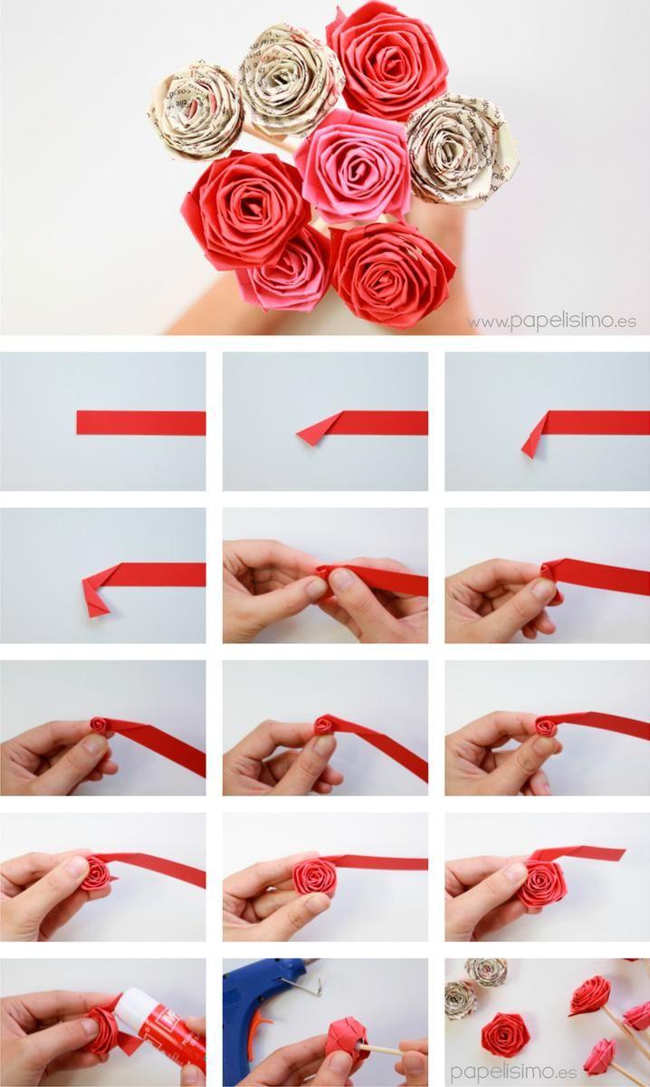 Cómo hacer rosas enrollando una tira de papel (quilling)