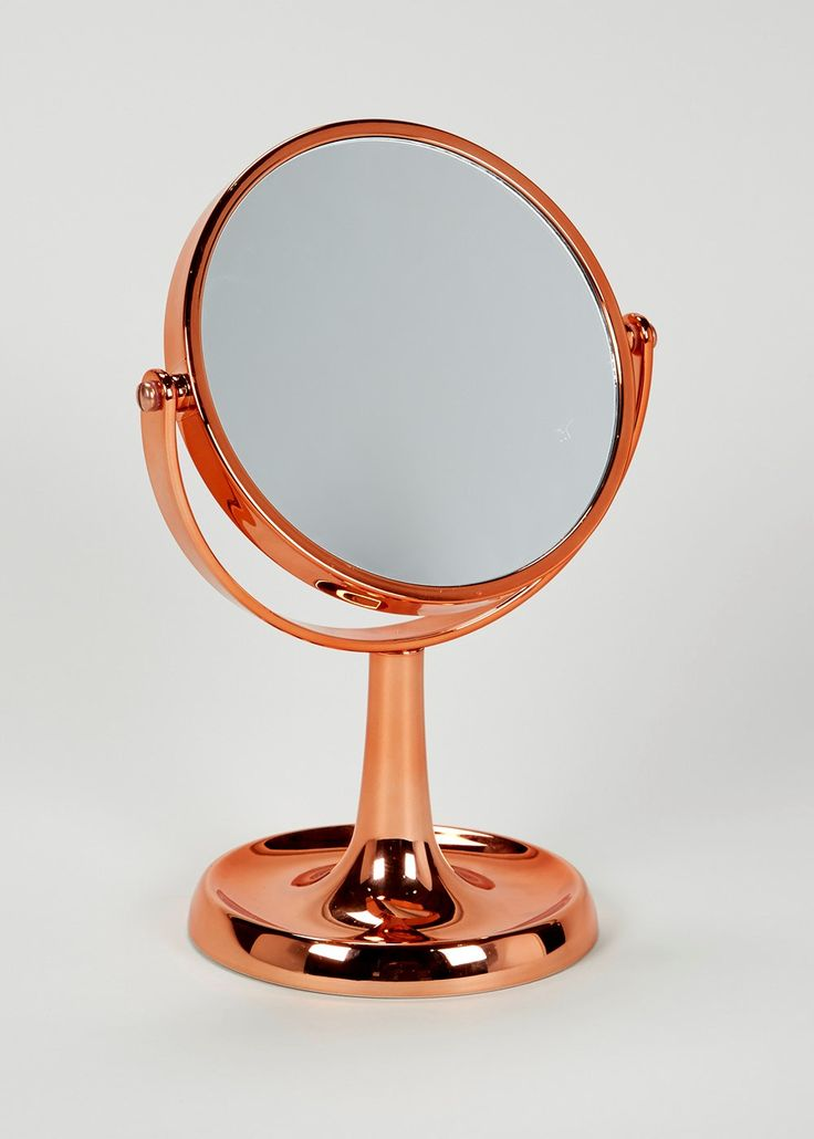 Bathroom Free Standing Copper Effect Circular Mirror 28cm
