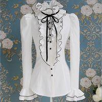 Verão e outono plissado branco fita preta arco bolha de manga comprida camisa blusas