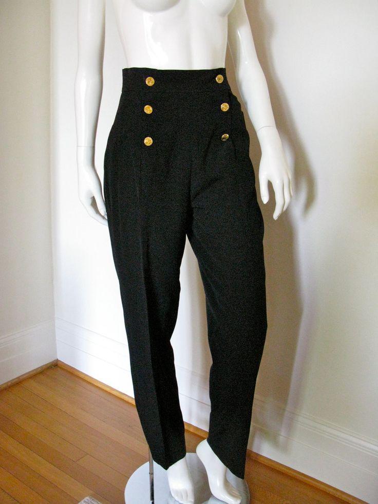 Vintage 1970s 1980s Chanel Boutique Black Pants Slacks Sailor Style Double Breasted High Waist Gold Elephant Buttons  https://www.etsy.com/listing/98557074/vintage-1970s-1980s-chanel-boutique