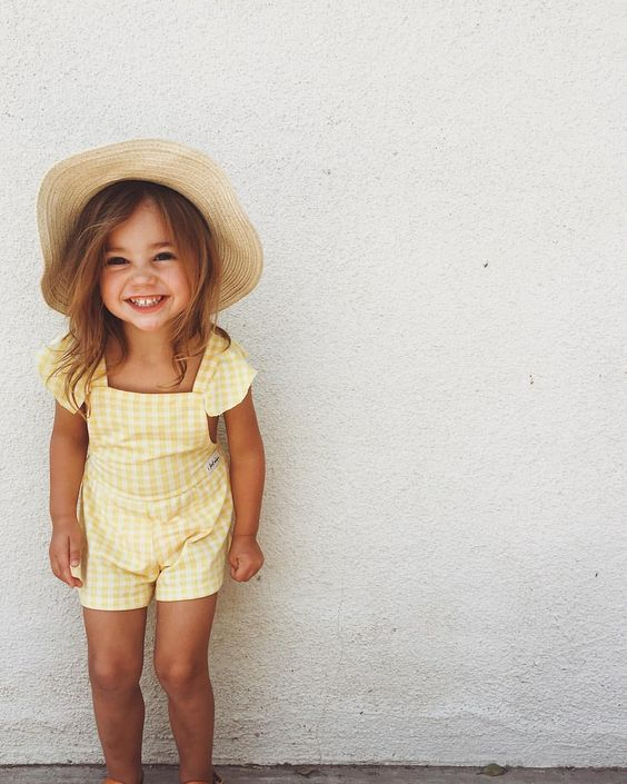 toddlers | young | hats | summer | yellow romper | smile