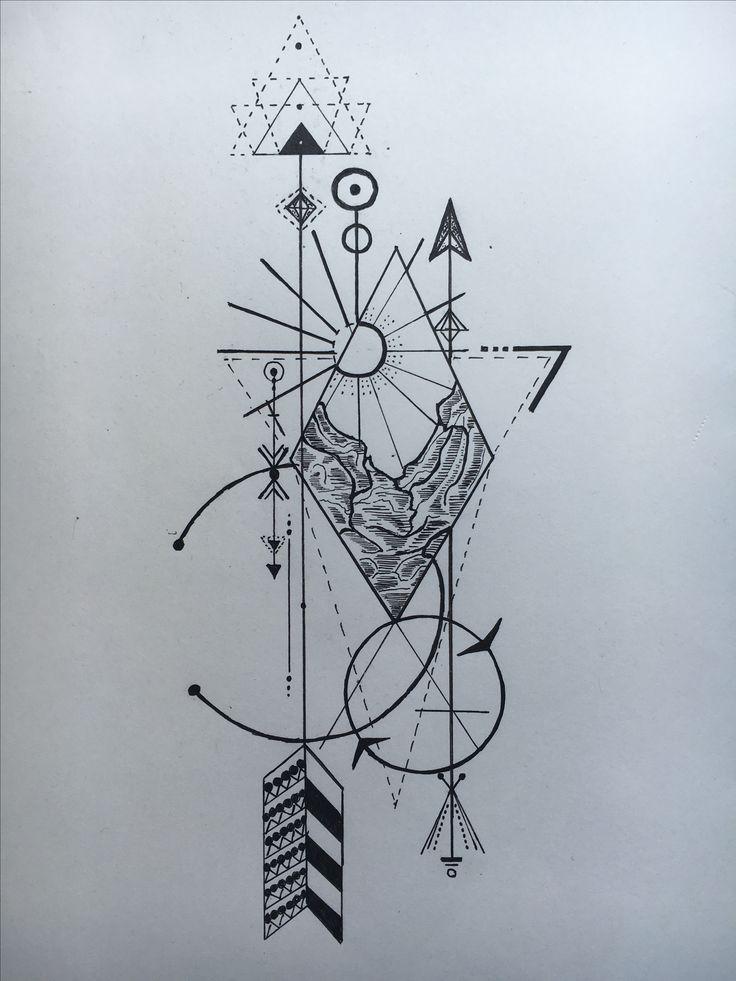 #InkHood #Design #Berge #Sonne #Pfeil #Tattoo