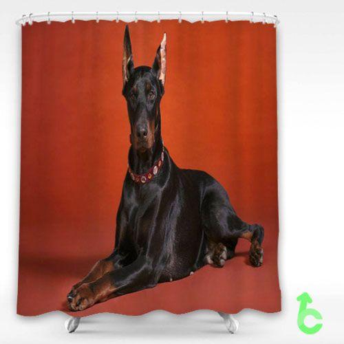 Cheap Dog doberman breed Shower Curtain