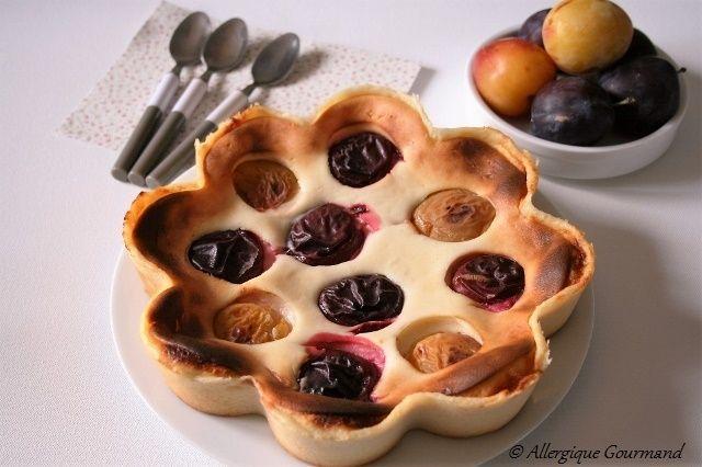 Gâteau au fromage blanc aux prunes, Bio, sans oeufs, gluten ....