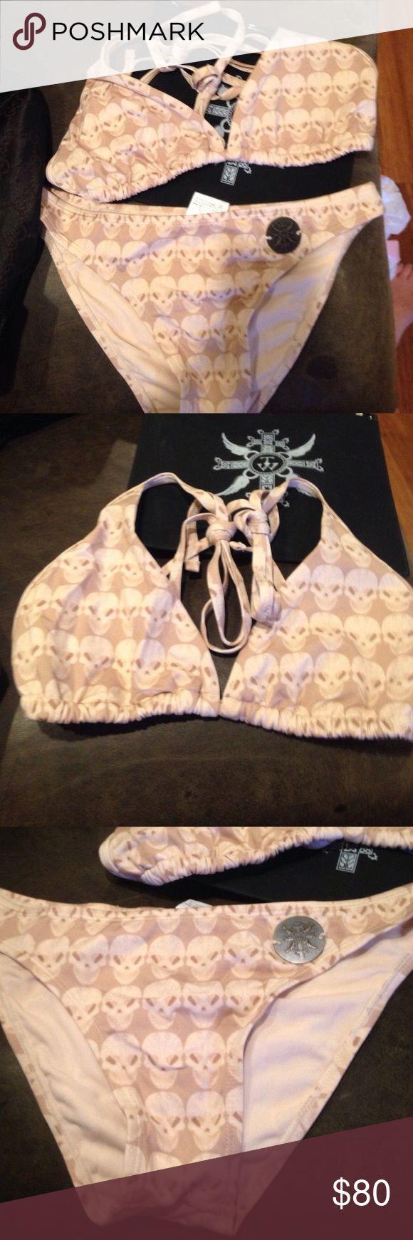 New in water proof bag Thomas Wylde skull bikini New, never worn, comes in Waterloo pouch, Paula Thomas for Thomas Wylde size large thomas wylde Swim Bikinis