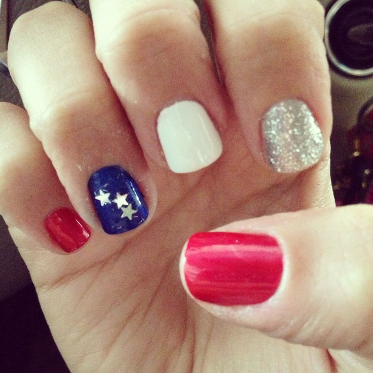 Red white and blue nails for Fourth of July.