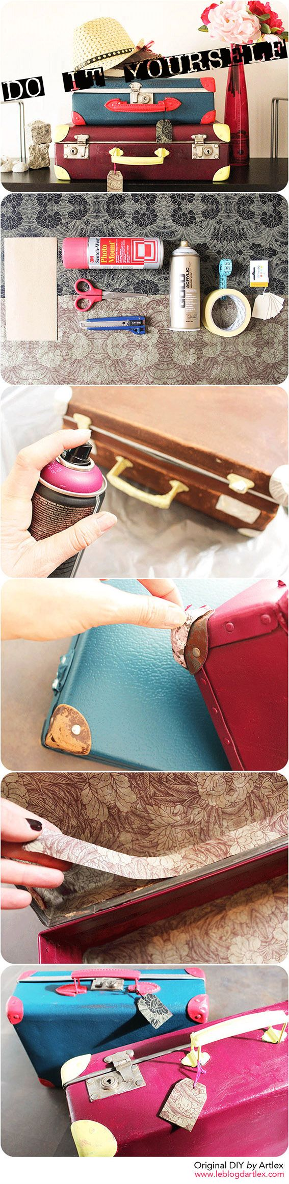 Vintage suitcase DIY // DIY valise vintage // Blog mode et DIY Artlex
