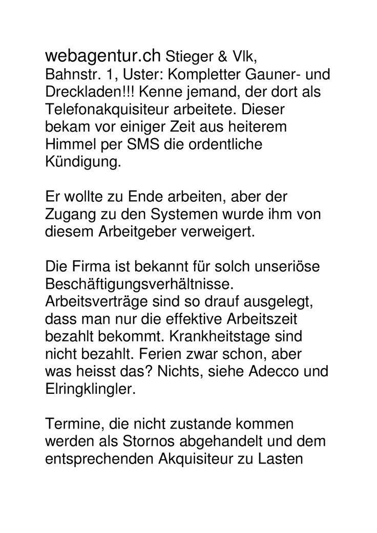 webagentur.ch Stieger & Vlk, Bahnstr. 1, Uster: Kompletter Gauner- und Dreckladen!!! Akt 1