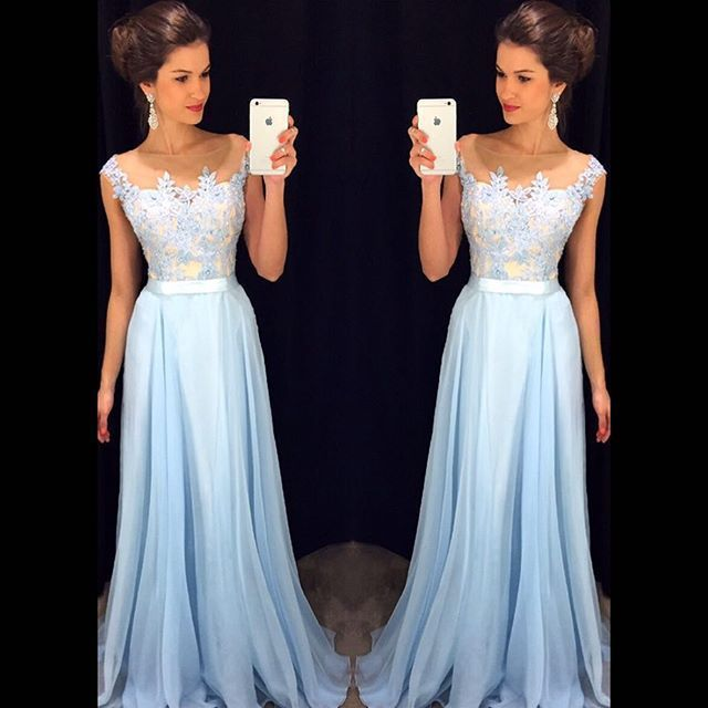 Largos Vestidos de Noche 2017 Nuevos de La Llegada Vestidos Formales Cariño Gasa Azul de Longitud de robe de soirée