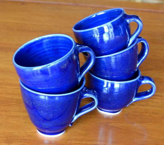 Beautiful Blue Coffee Cups (Hand Thrown Porcelain)
