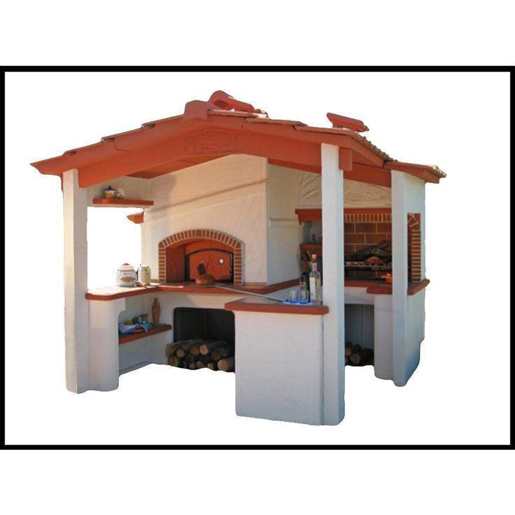 Barbecue con forno modello Siena: forno da giardino realizzato in cemento armato, piani in cotto, completo di focolare e forno. Ideale per il tuo giardino, e cucina con il metodo che preferisci sfruttando la duplice funzionalità
