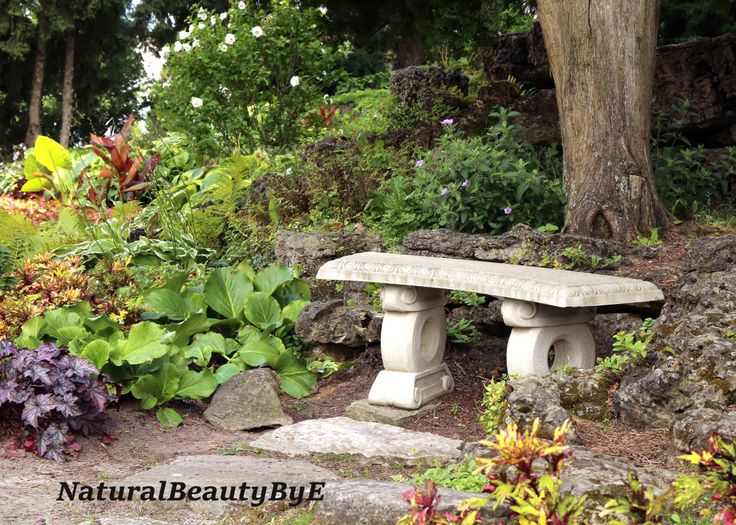 SALE - 1 WK ('til July 14) 20% off, Flower garden bench print, stone bench, flower photography, nature, wall art, fine art, flower print by NaturalBeautybyE on Etsy