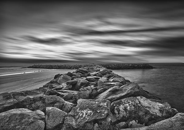 Oceanside Harbor Jetty in Oceanside California.