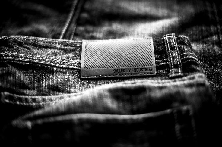 Kollektiv Industries 2013 denim branding patches.   Black and White Photography. Denim + Design. KLKTV